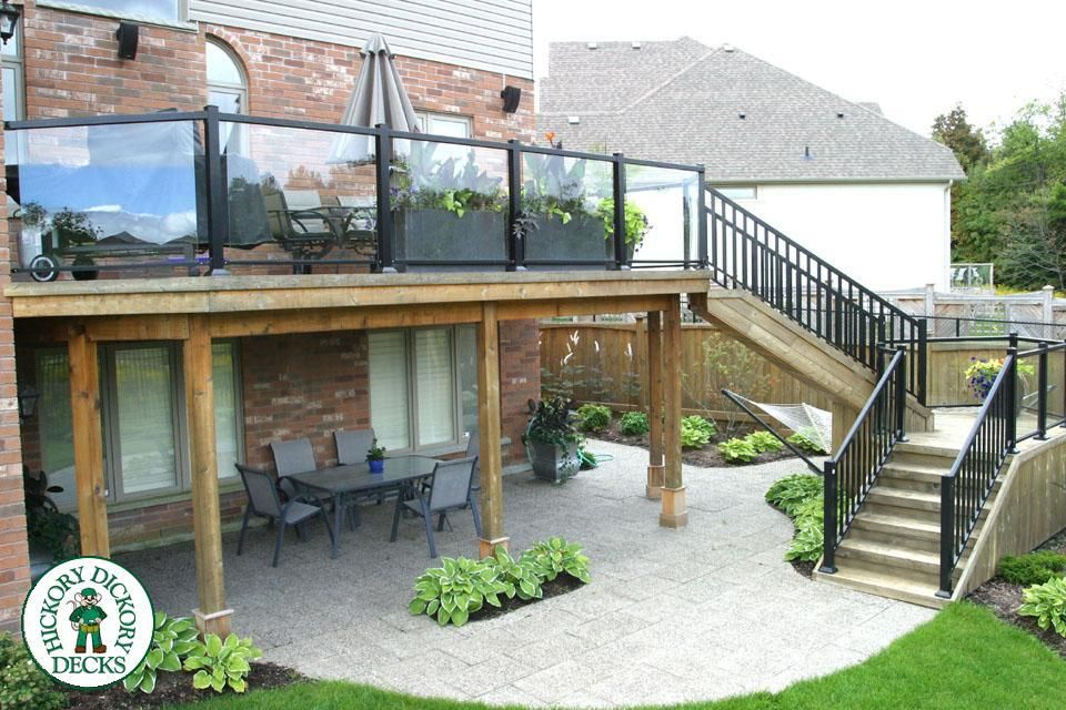 The Elevated Deck Was Built In Kitchner Waterloo The Deck Itself Backyard Deck Decks Backyard Backyard Patio