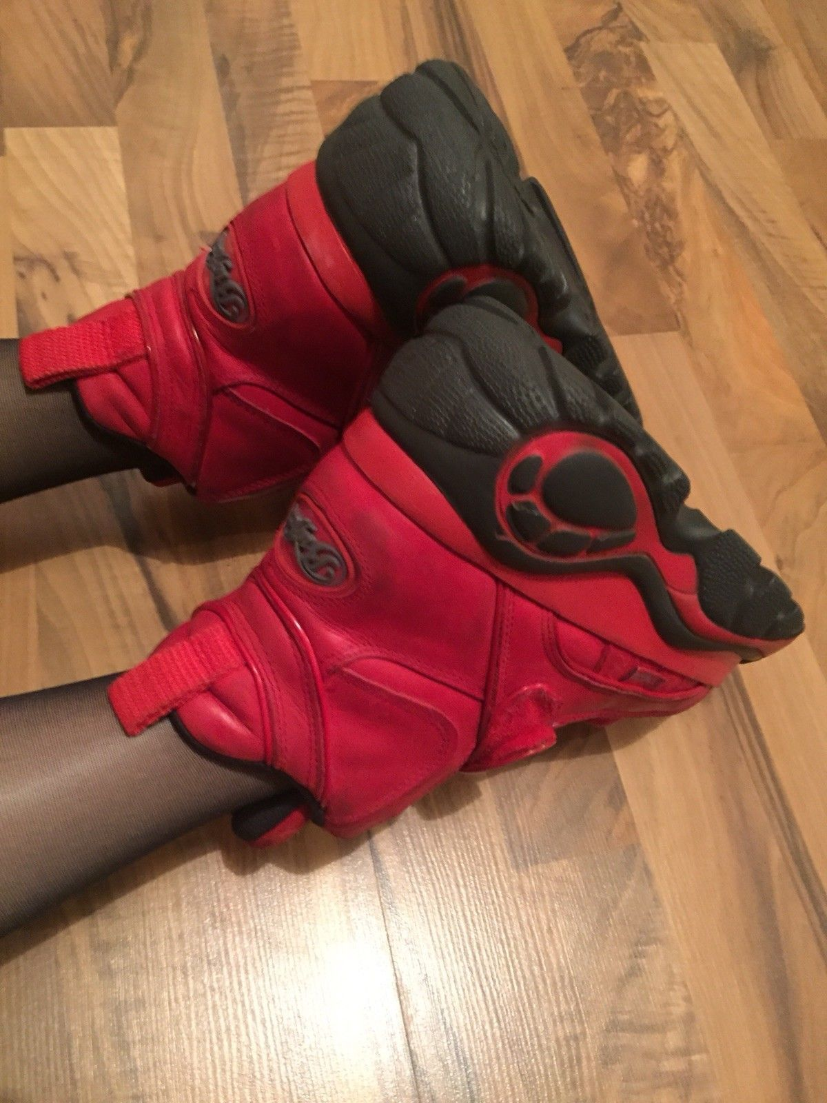 Rote 90er Buffalo Classic Plateau Boots Tower Techno Rave Kleidung