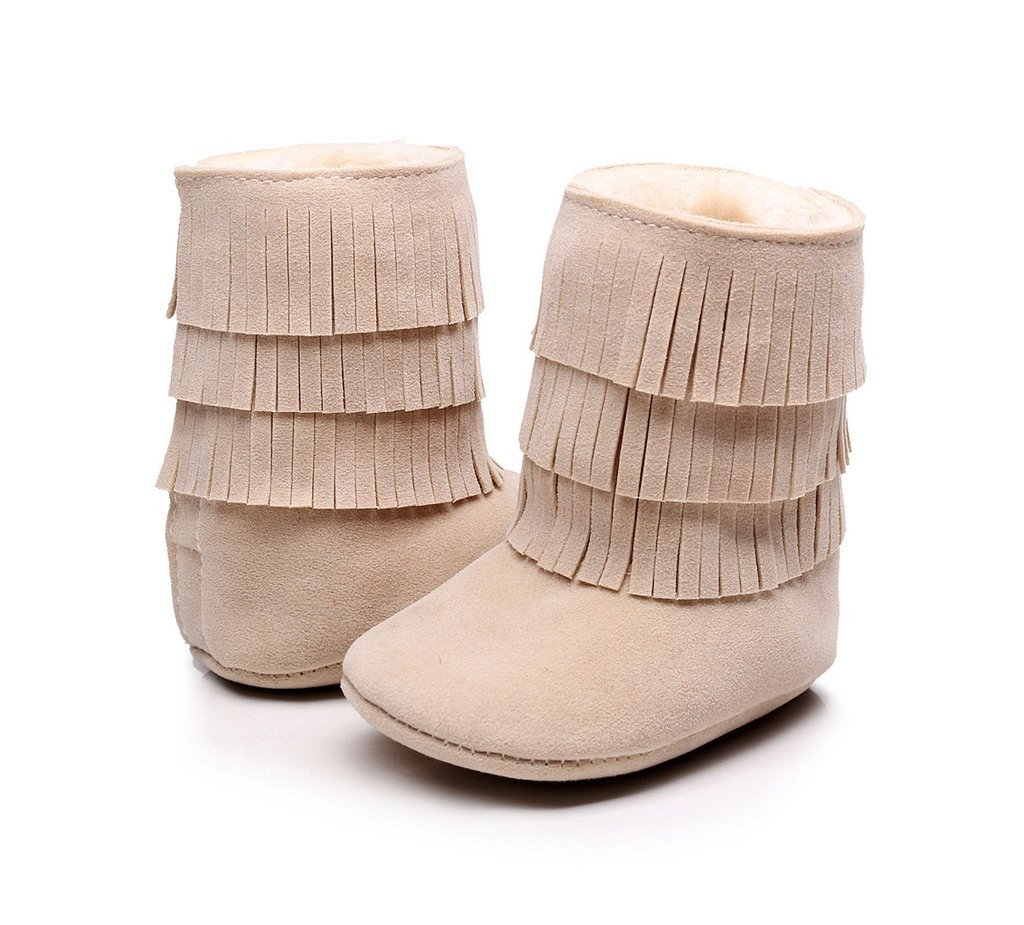 Tawny Faux-Fur Lined Suede Fringe Boots