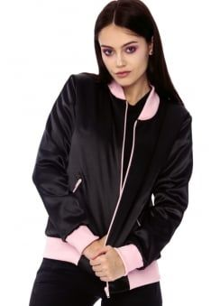 Black Satin Lace Up Bomber Jacket