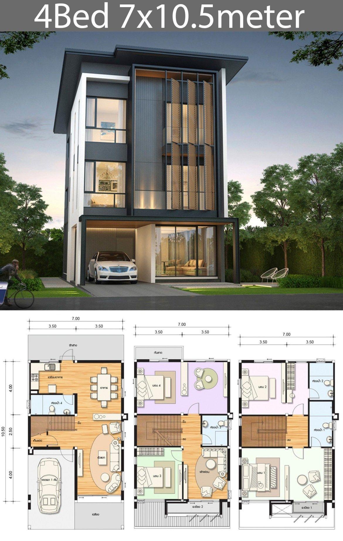 5 Ideas Home Design Plan 7x10m Samphoas Plansearch Narrow House Plans House Designs Exterior Duplex House Design