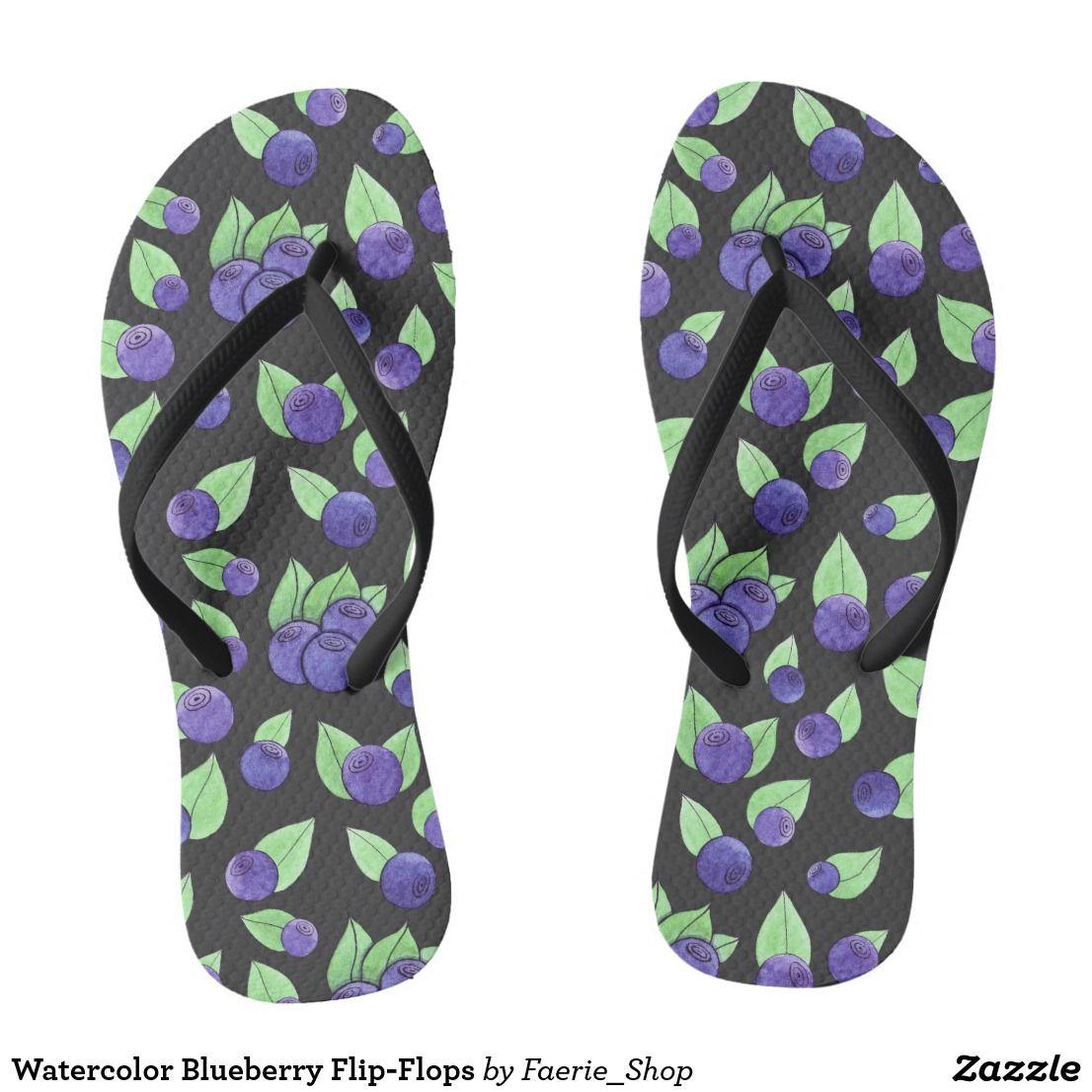 2b7684364c191f Watercolor Blueberry Flip-Flops Flip Flops  watercolor  blueberry  pattern   purple