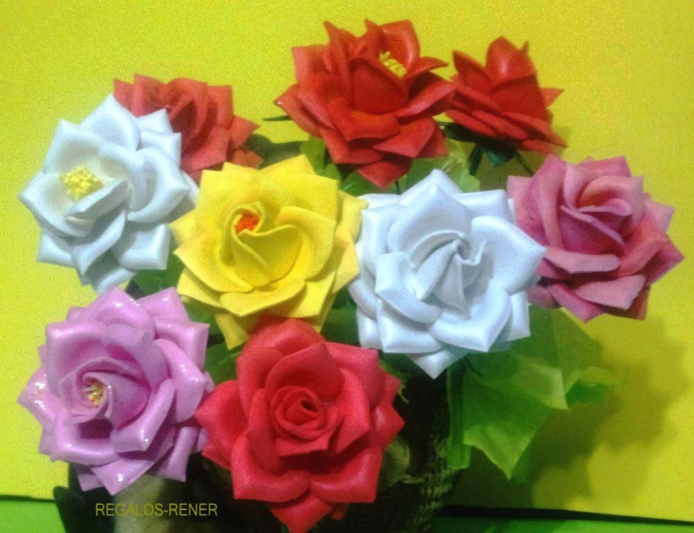 Rosas de 7 cm de di mtro en goma eva termoformada flores - Flore de goma eva ...