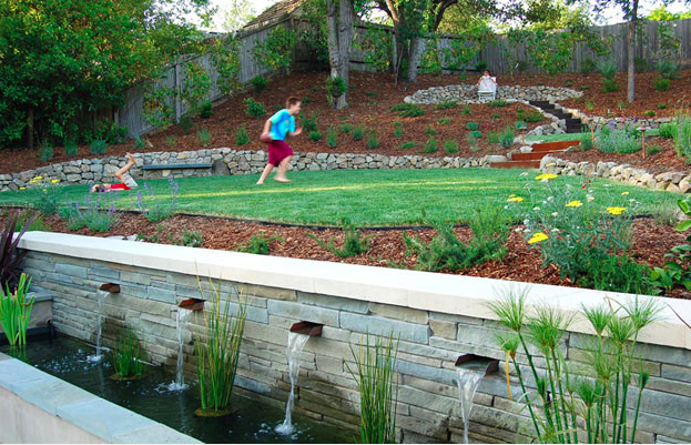Flat pad for grass on an incline (With images) | Sloped ... on Inclined Backyard Ideas id=93753