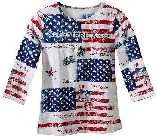 $15 - Collections Etc - All American Patriotic Flag Scoop Neck Sequin Top Misses Red Multi Medium #convann2 #usa