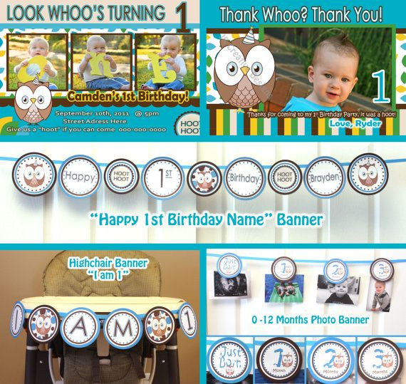Owl Birthday Party Package Girl Look Whoos by JRCreativeDesigns