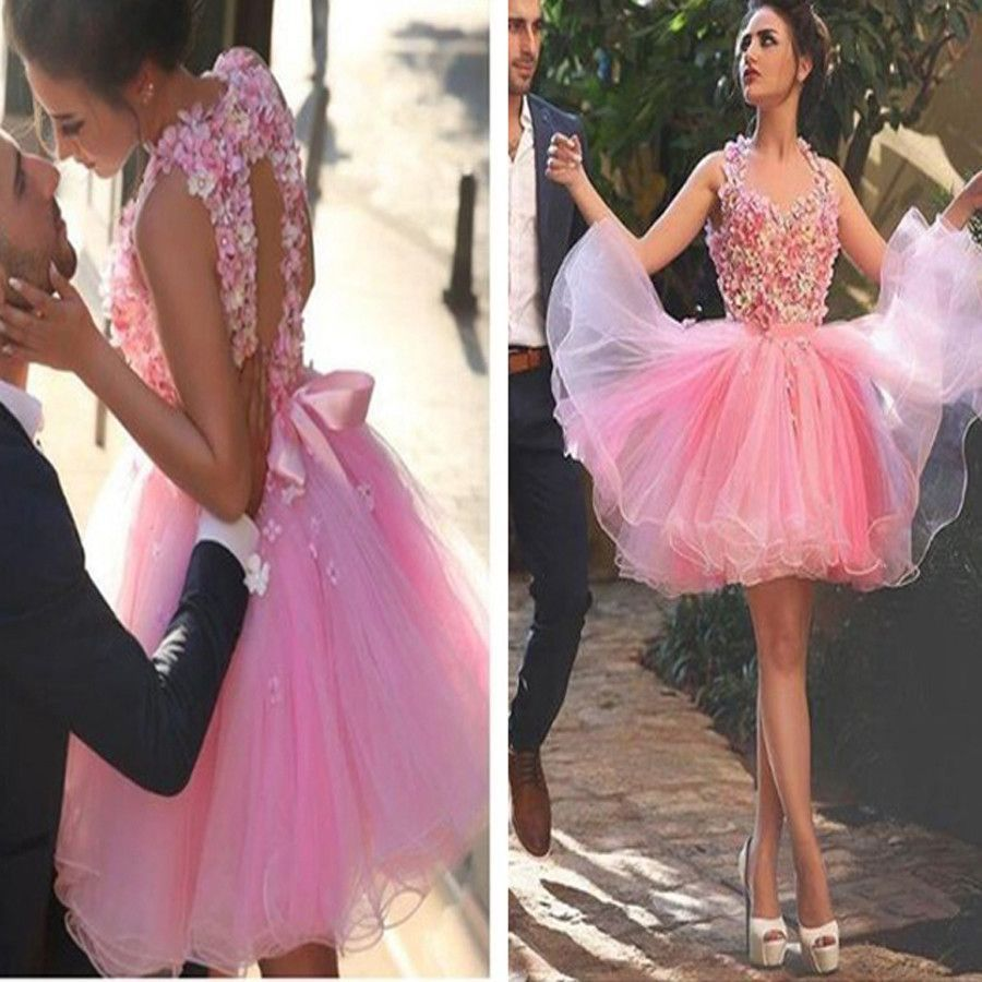 Pink appliques lovely casual freshman graduation homecoming prom