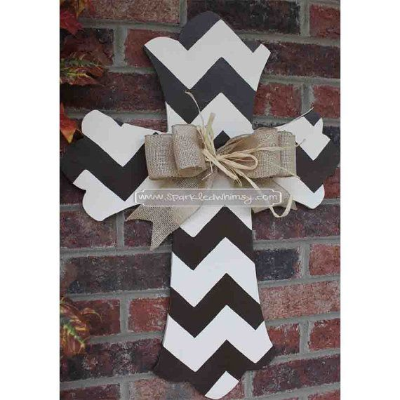 Chevron Cross Fall Door Hanger Sign by Sparkled Whimsy