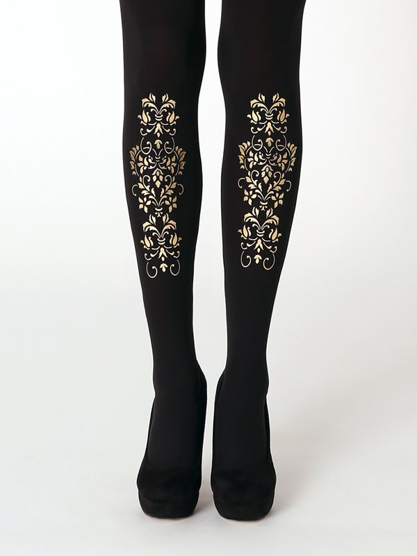 9b4f94586 Ornament tights by Virivee! Hand printed superb quality tights with  metallic gold pattern.
