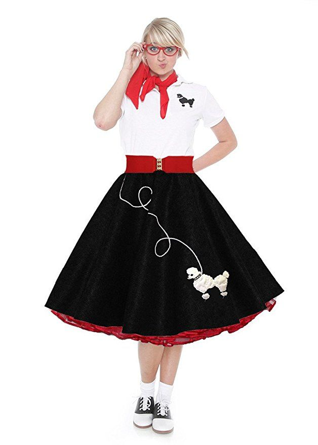 482ed423dc6d6 1950s 50s Costumes- Poodle Skirt Set Black and Red Large Sock Hope  Halloween Costume Adult