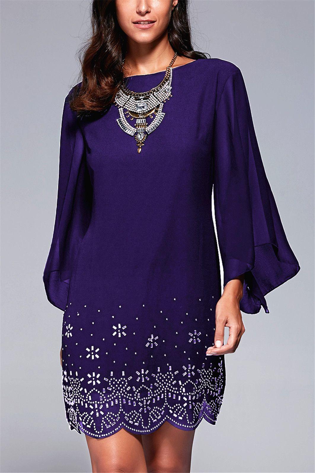 $18.60 Women\'s Stylish Bell Sleeve Rhinestone Embellished Dress ...