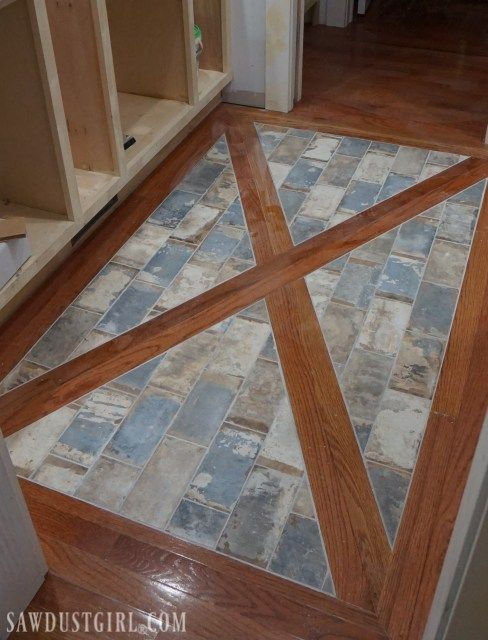 How To Install A Wood Floor With Tile Inlay Sawdust Girl Wood Floor Pattern Inlay Flooring Brick And Wood