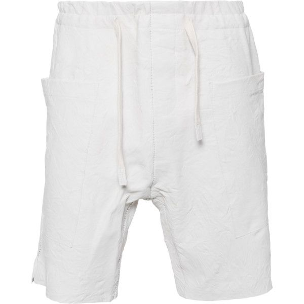 10SEI0OTTO Open Hem Short Leather White // Leather shorts (1.240.100 COP) ❤ liked on Polyvore featuring mens, men's clothing and men's shorts