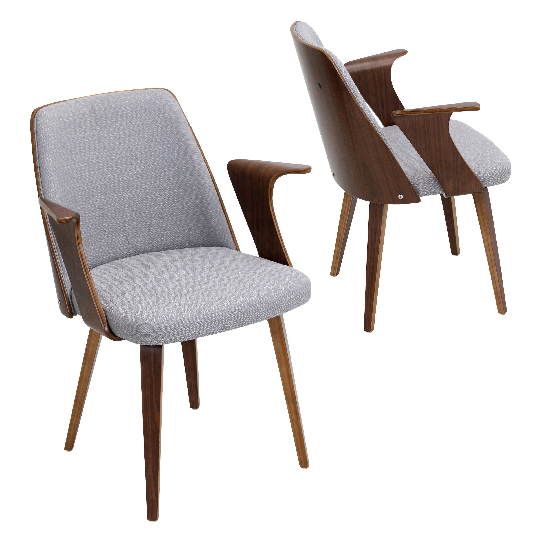 LumiSource Verdana Mid Century Modern Chair in Walnut Wood Grey Fabric