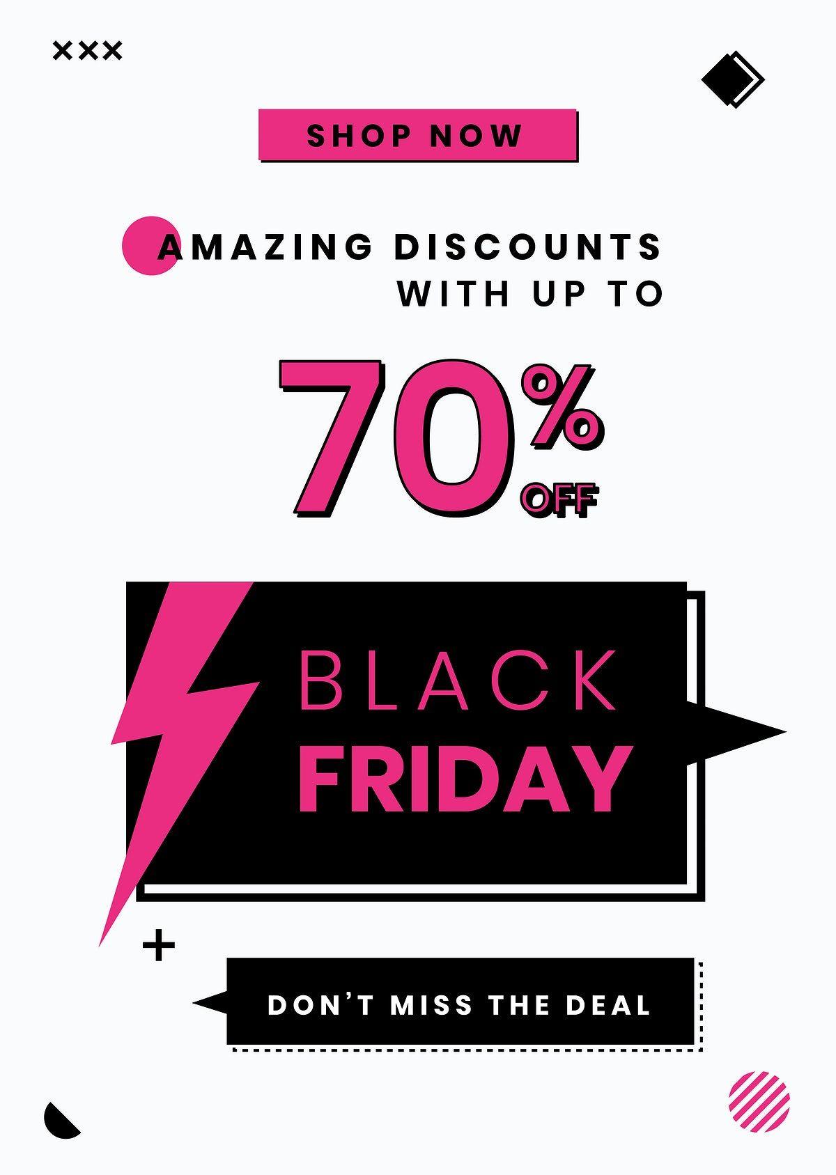 Download Premium Vector Of Black Friday Vector 70 Off Pink Sale Promotion Black Friday Pink Sale Sale Promotion