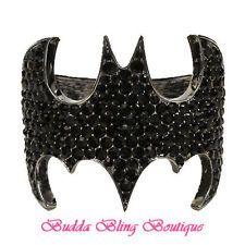 S-E-X-Y GOTHAM GLAM Midnight Black Crystal Bling BATMAN BAT Cuff Bracelet 2261