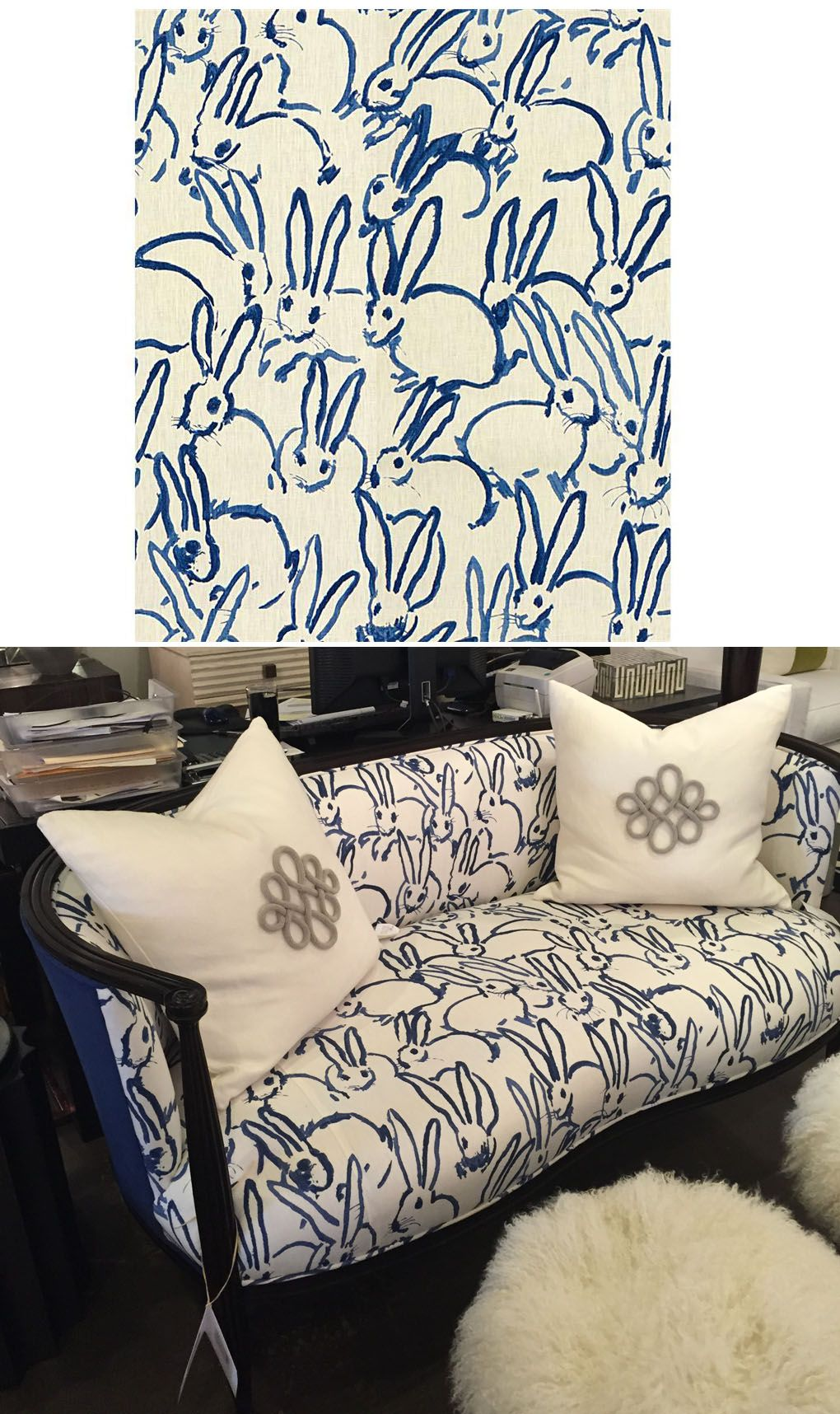 Hunt Slonem bunnies print fabric. PERFECT for an