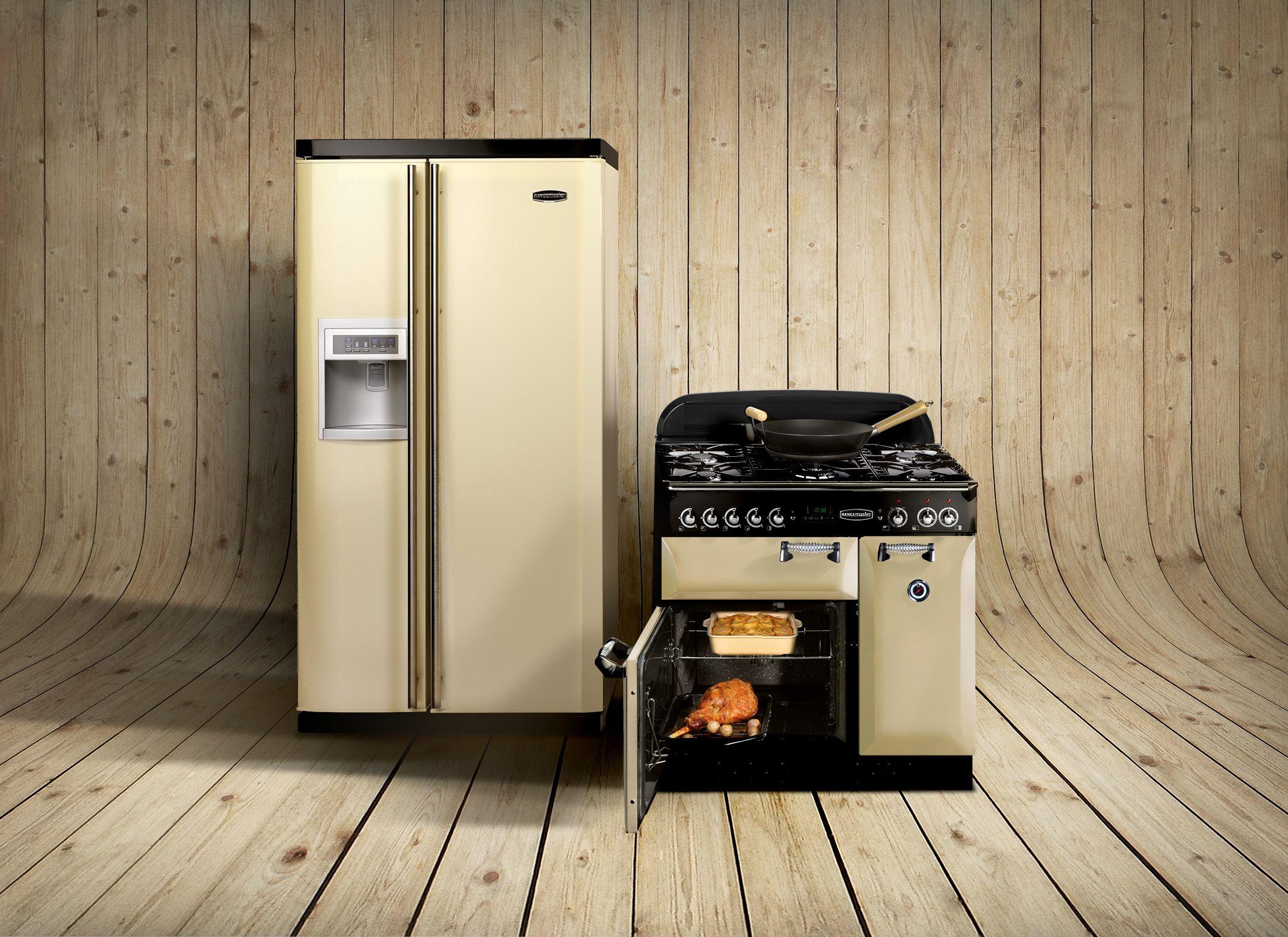 American Side By Side Fridge Freezer Part - 43: Rangemaster Elan 90 Range Cooker With Rangemaster Side-by-side American-style  Fridge
