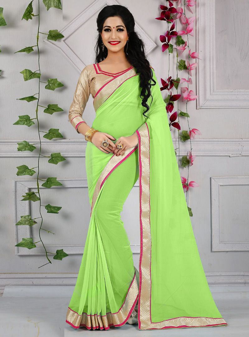 bfa0412b9 Buy Light Green Faux Georgette Plain Saree 140612 with blouse online at  lowest price from vast collection of sarees at Indianclothstore.com.