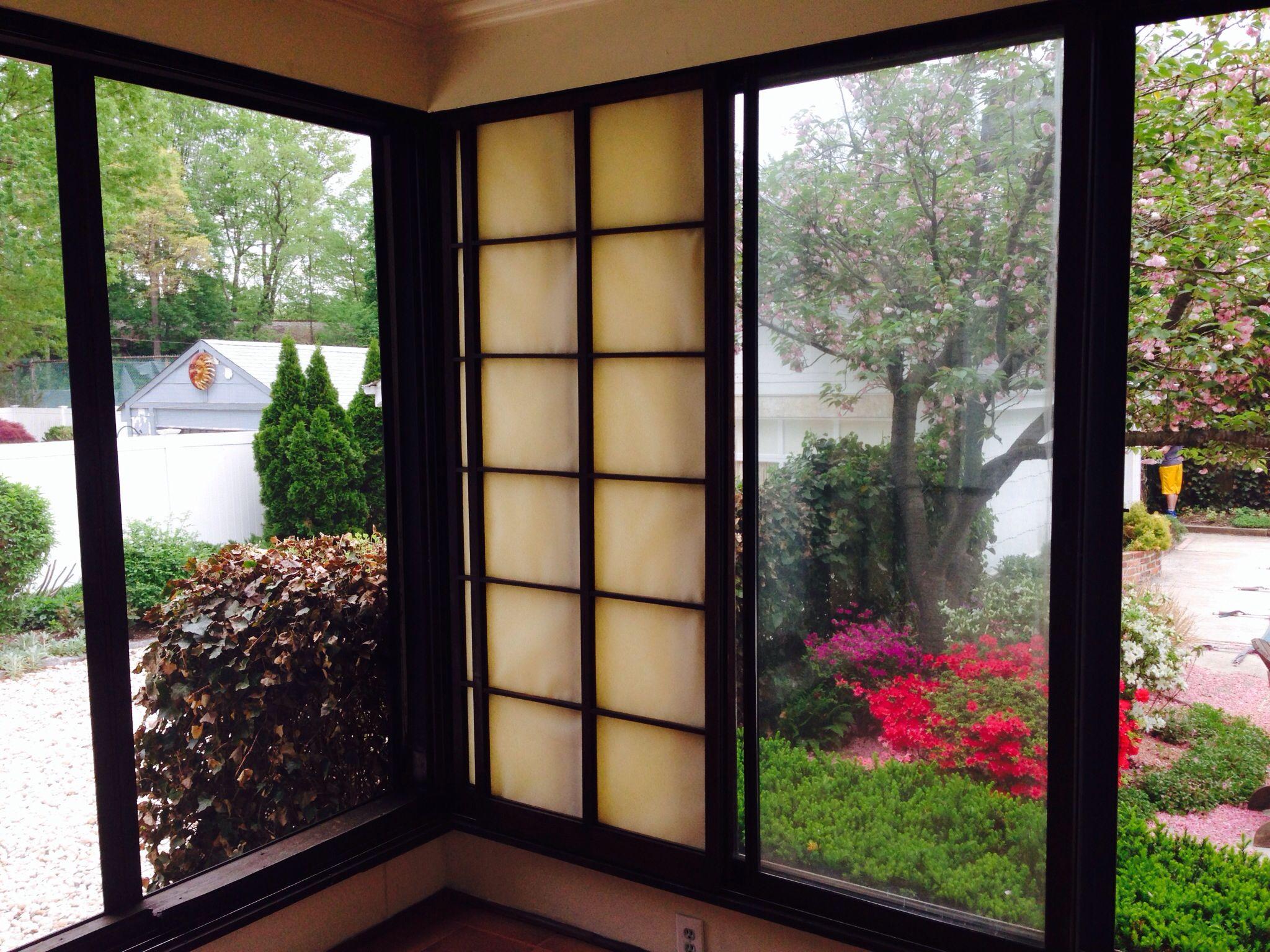 Shoji screens on back porch / sliders