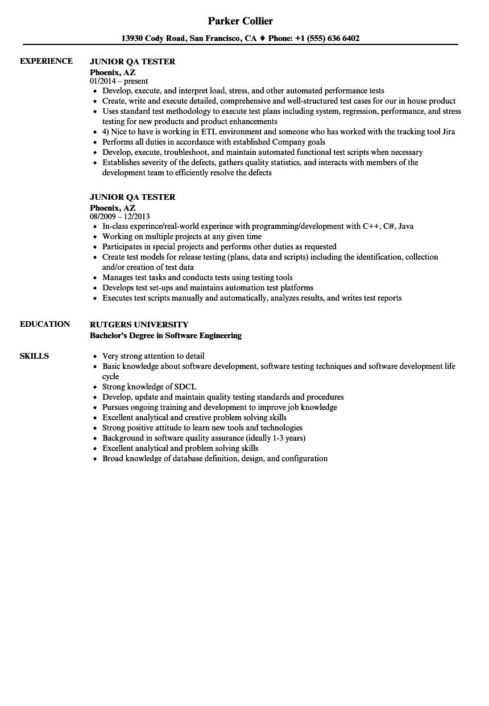 Junior Qa Tester Resume Samples In 2021 Resume Examples Professional Resume Examples Basic Resume Examples