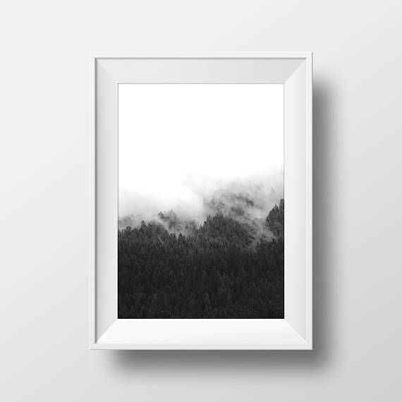 Forest art poster black and white forest minimalist landscape print fog poster misty