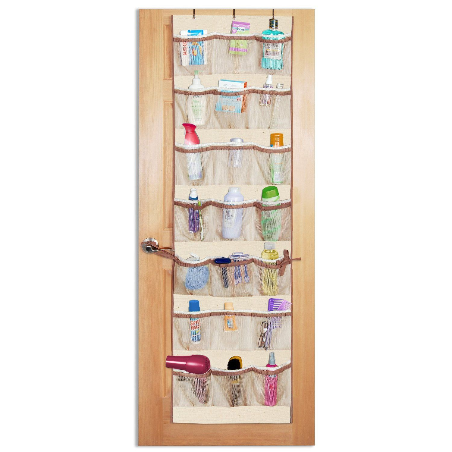 Shoe Organizer For Toiletries In A Small Bathroom Over The Door Organizer Door Organizer Bathroom Cleaning Hacks