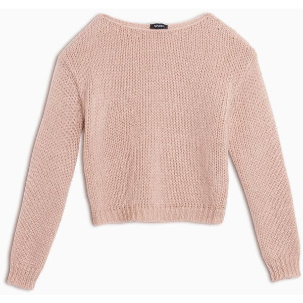 MAX&Co. Mohair blend jumper (1.170 ARS) ❤ liked on Polyvore featuring tops, sweaters, shirts, crop tops, powder pink, loose shirt, pink long sleeve shirt, chunky knit sweater, long sleeve sweater and pink shirts