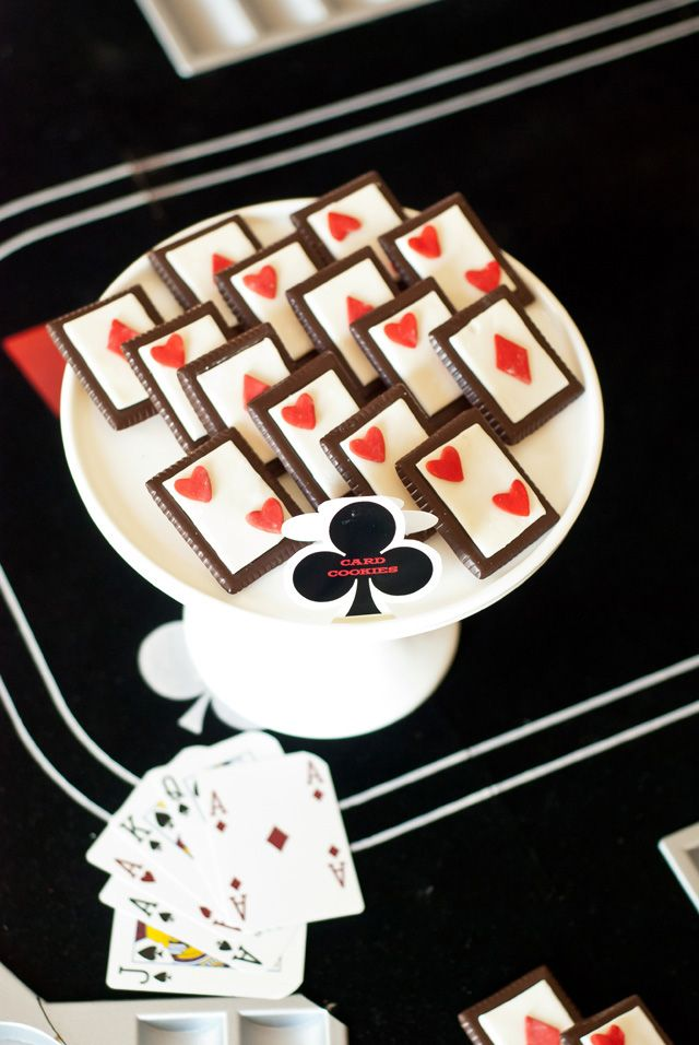 Poker Party Desserts - Easy to make NO BAKE Playing Card Cookies!