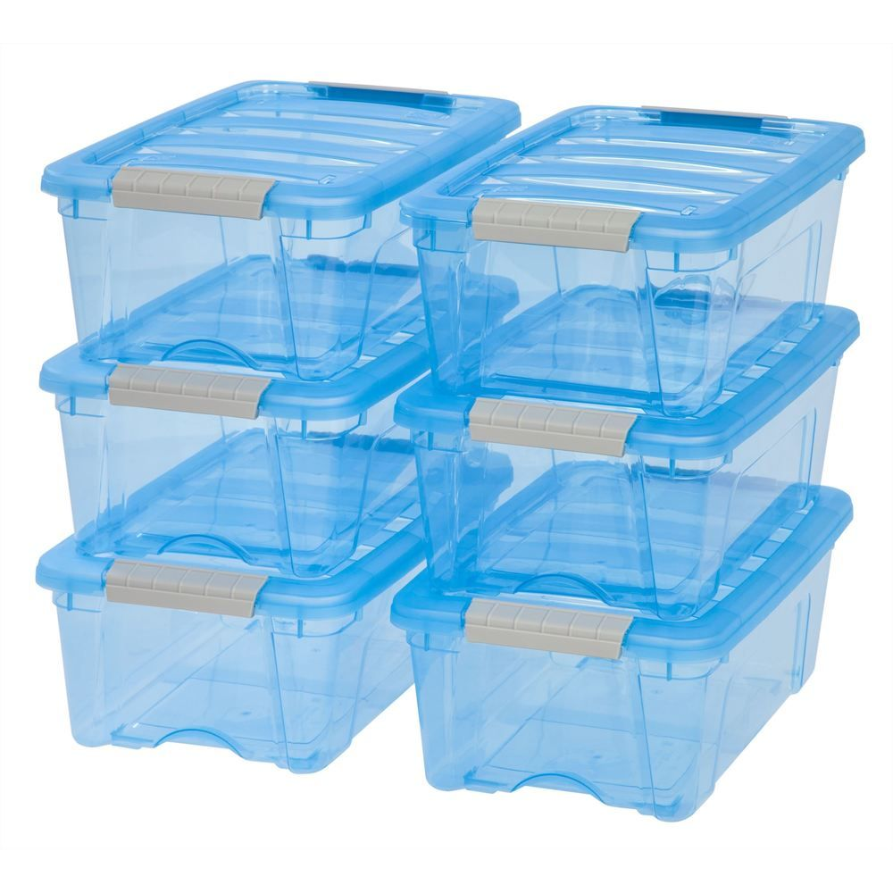 Iris 12 Qt Stack Pull Plastic Storage Bin Pack Of 6 12 Quart Stack Pull Box 6 Pk Set Trans Blue In 2020 Storage Bins Clear Plastic Storage Containers Plastic Container Storage