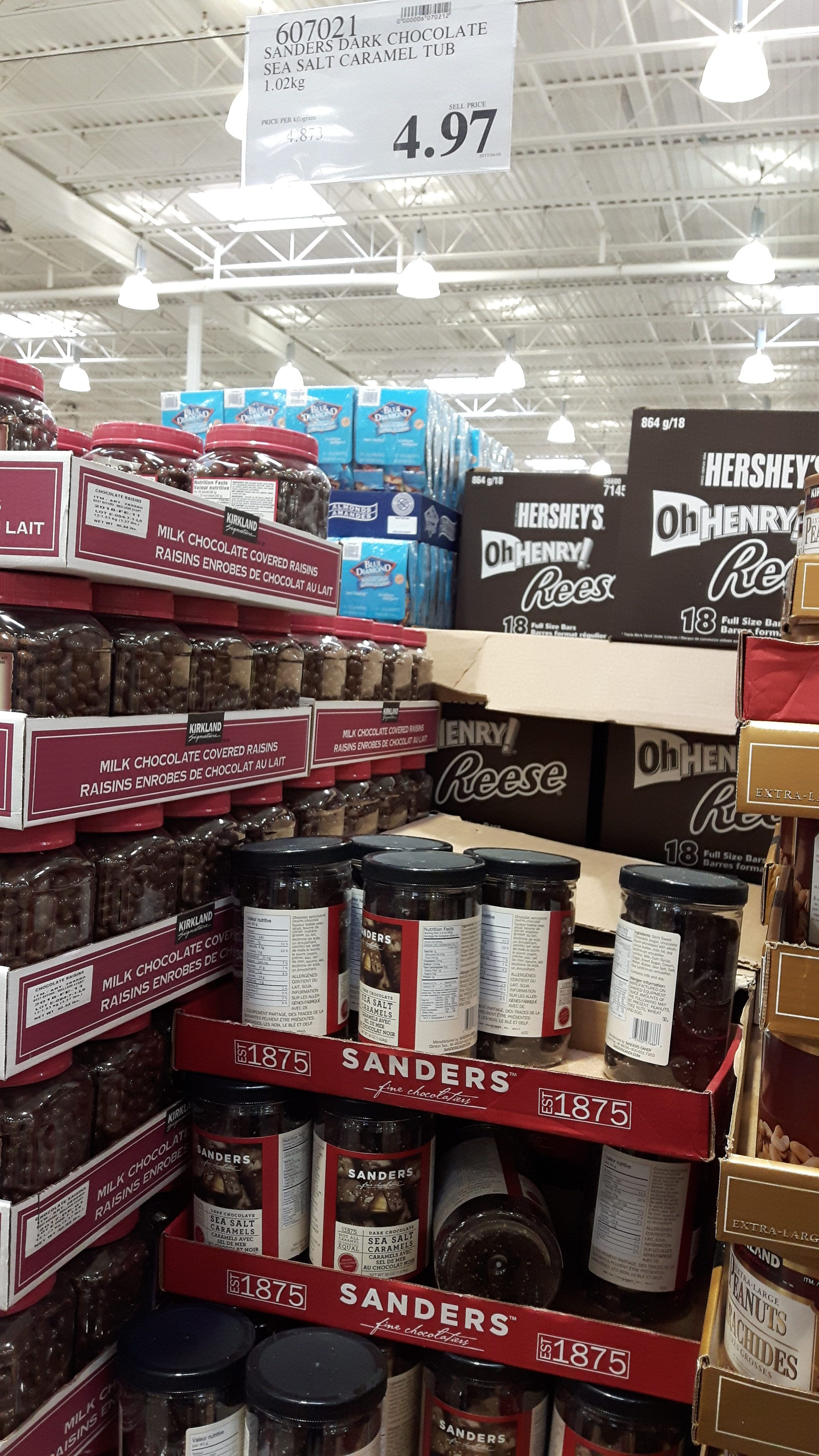Costco Warden]Sanders Dark Chocolate Sea Salt Caramel 1.02 kg Tub ...