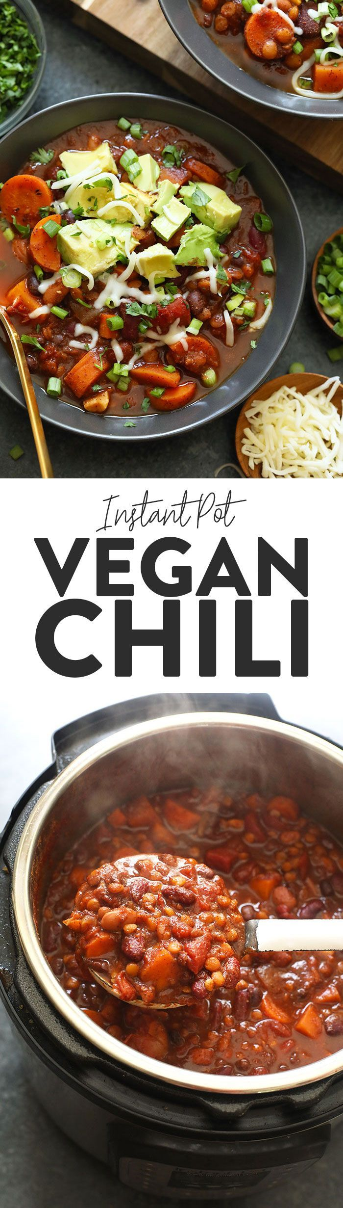 This Vegan Instant Pot Chili is an easy weeknight meal that everyone will love! It is packed with fiber from lentils and beans, as well as delicious vegetables. This Instant Pot Chili is vegan and is the perfect meal-prep meal for the week. Make it now! Vegan Instant Pot Chili is an easy weeknight meal that everyone will love! It is packed with fiber from lentils and beans, as well as delicious vegetables. This Instant Pot Chili is vegan and is the perfect meal-prep meal for the week. Make it now!