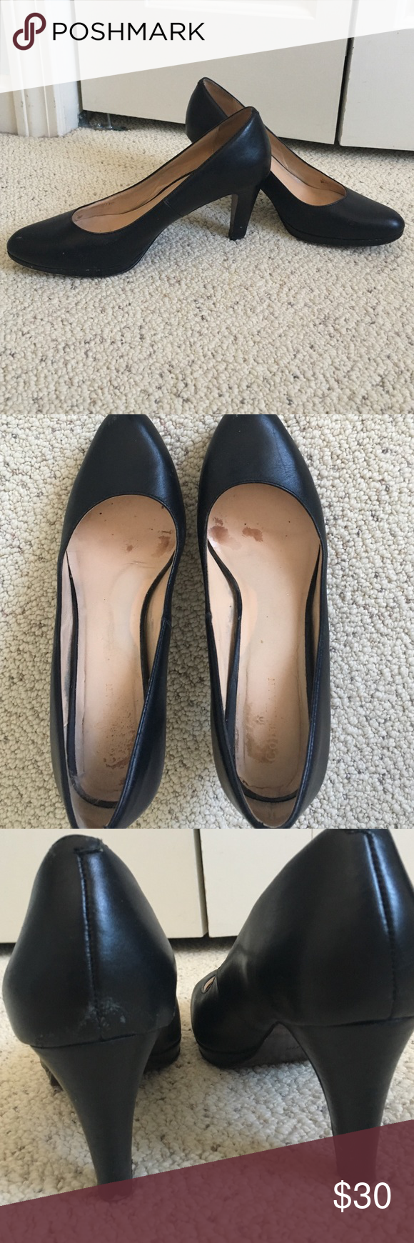 Black Cole Haan heels Gorgeous black Cole Haan heels. These are definitely an amazing wardrobe staple! A bit of wear on the inside (you can see that some fabric has worn off) and a few marks on the outside (shown in photos). It's barely noticeable when you're actually wearing the shoes. In good condition, and they're perfect for work or special occasions! Cole Haan Shoes Heels
