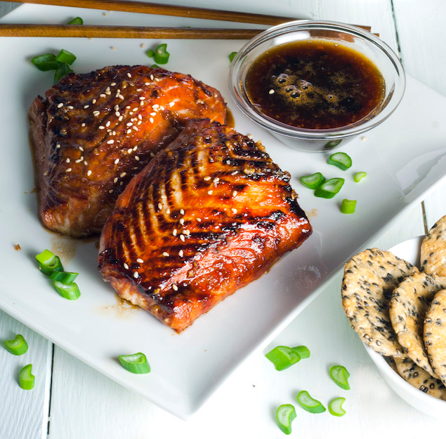 Crispy Garlic-Miso Glazed Salmon