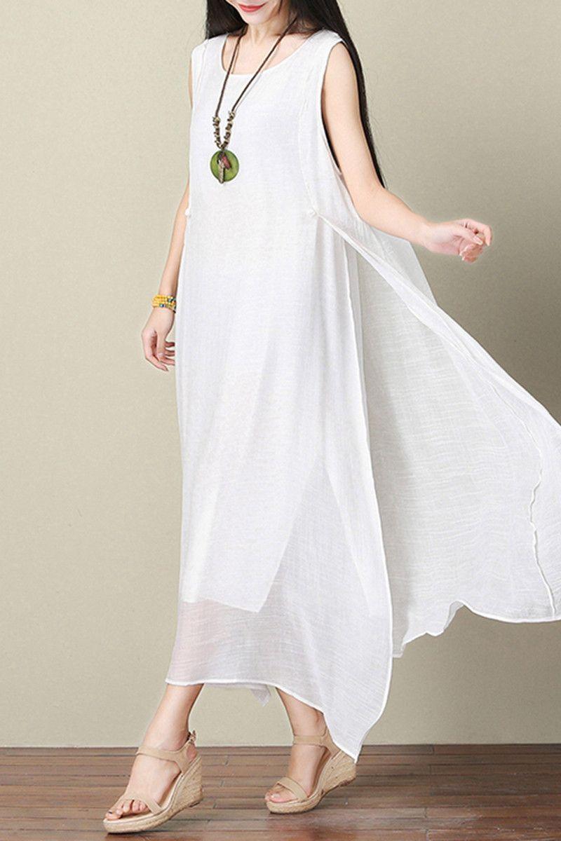 White Silk Linen Dress Summer Women Dress Q3103A | Sommer ...