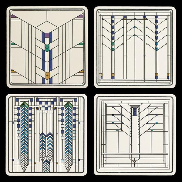 Frank Lloyd Wright Ennis House Windows Coasters Gift Set