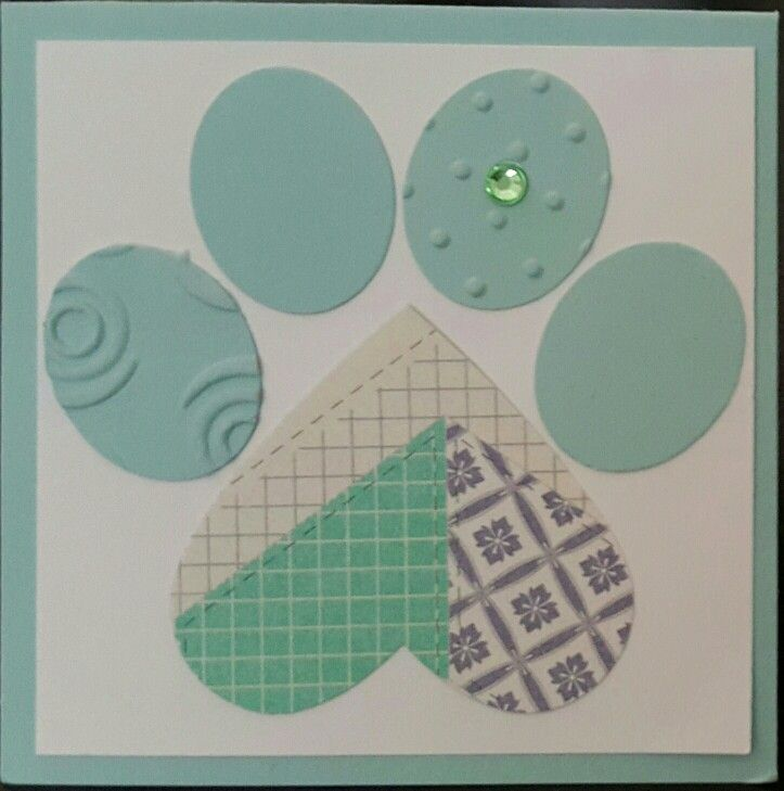 "3""x3"" Paw Print Gift Card Stampin' Up! Cardstock: Pool Party & Designer Seriers Paper Punch: Heart and Oval CASE'd from Dawn Musil"