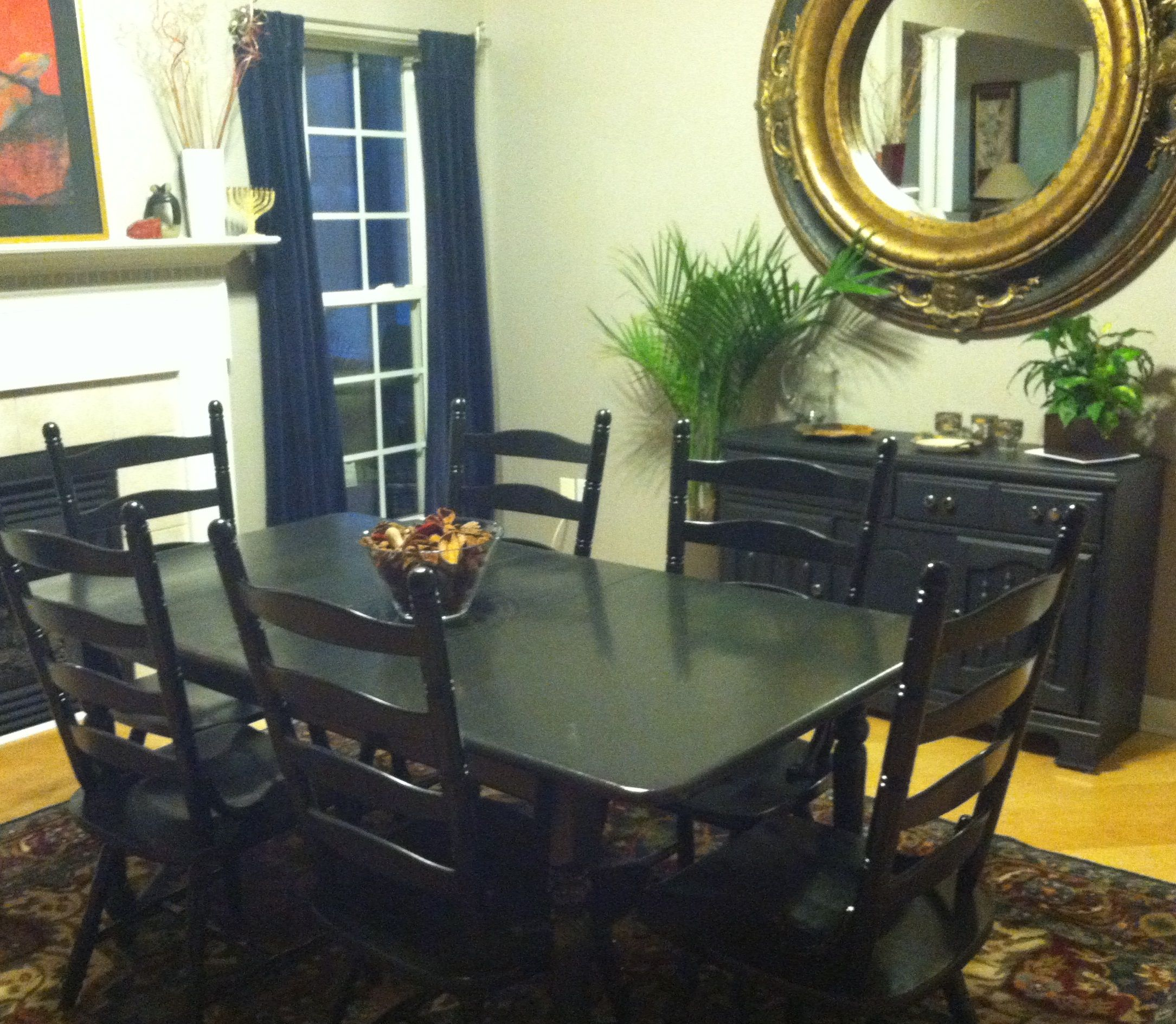 Kitchen Table In Bedroom: The Pine Dining Room Table And Chairs Have Been Repainted