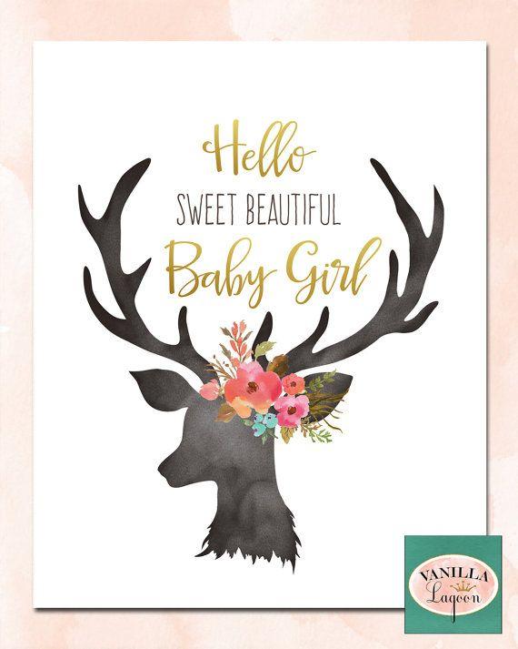 Printable Nursery Decor Peach And Gold Deer Print By Vanillalagoon Deer Nursery Nursery Gold Nursery