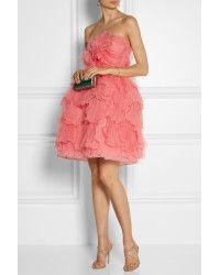 Love this Oscar de la Renta Pink Layered Tulle And Silk Dress