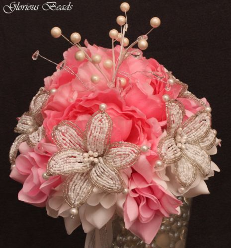 Lily Bridal Bouquet Wedding Beaded Flowers Lilies Pink Amp White Pearl Crystals