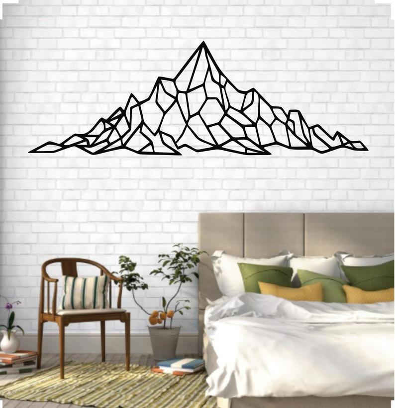 Metal Mountain Art Metal Wall Art Geometric Mountain Range Etsy Mountain Wall Decor Tape Wall Art Metal Wall Art Decor
