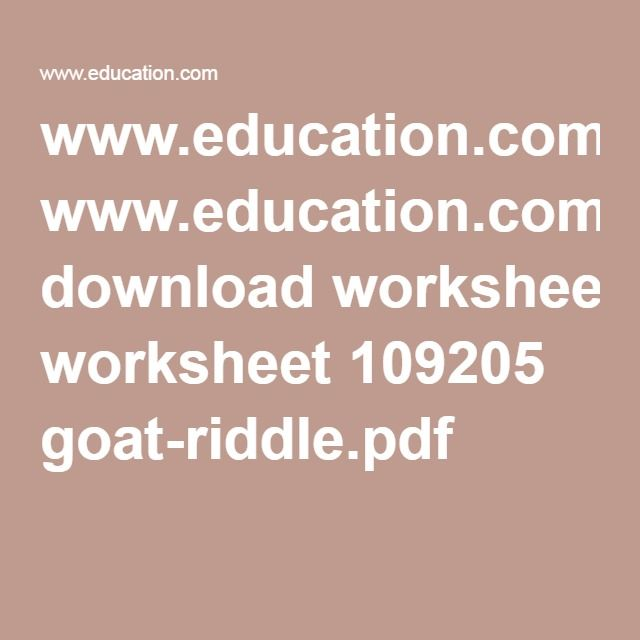 Goat Riddle Goats Worksheets And School