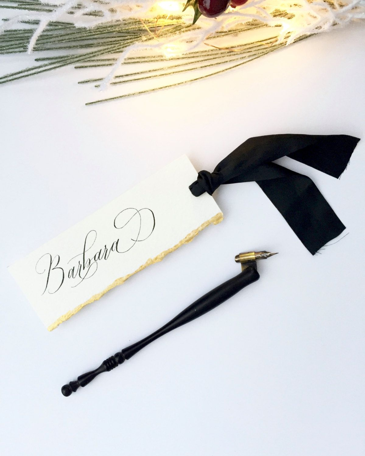 Paper Bookmark with Black Silk Ribbon, Personalized Bookmark ...