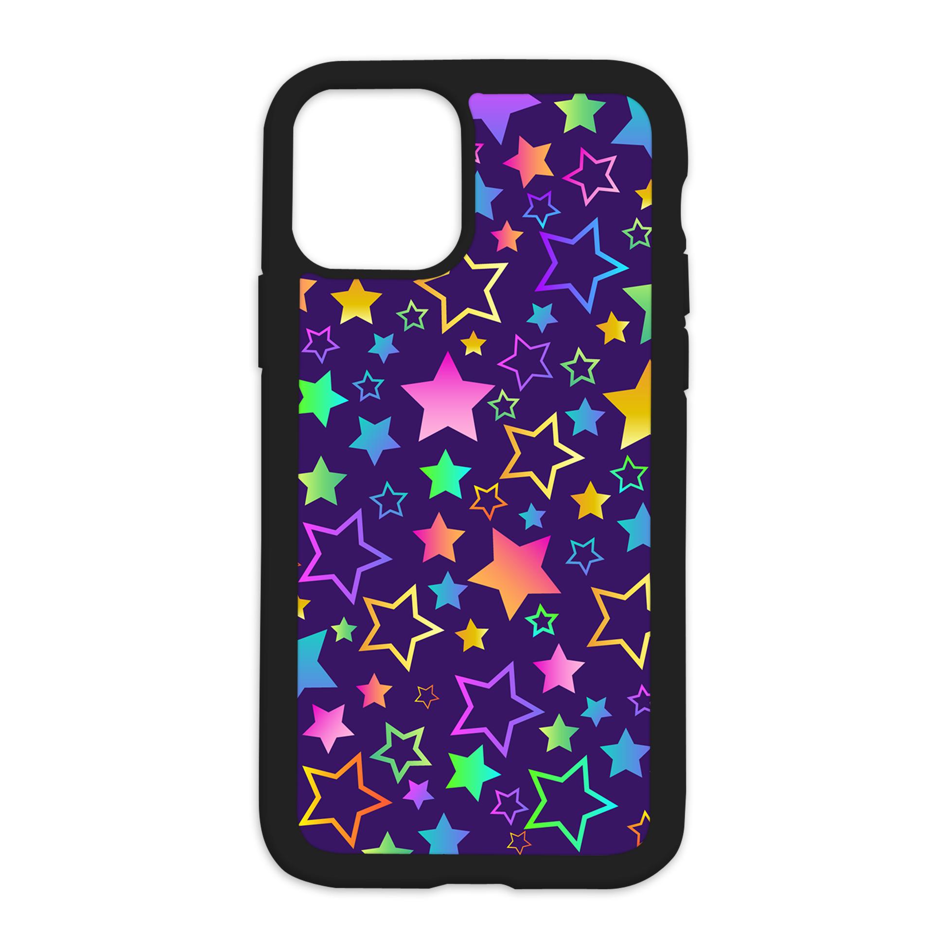 Colorful Stars Design On Black Phone Case - XS MAX / Purple