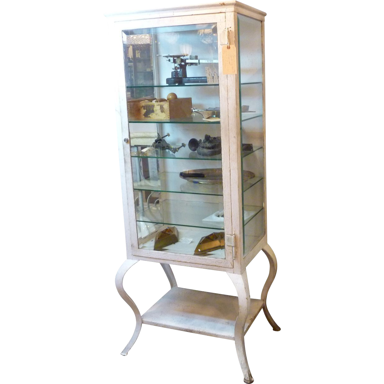 1920's Vintage medicine cabinet with cabriole legs and crackled white  paint. It includes glass shelves - Antique Doctors Medicine Cabinet Antique Furniture