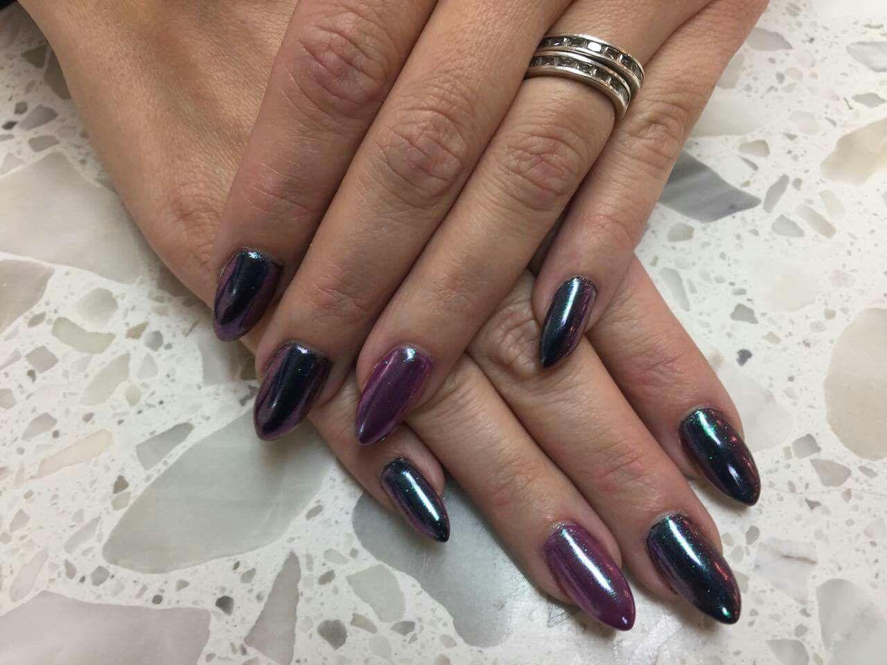 chrome gel nails, almond shape. | Nails Peachy Nail Spot Fort ...