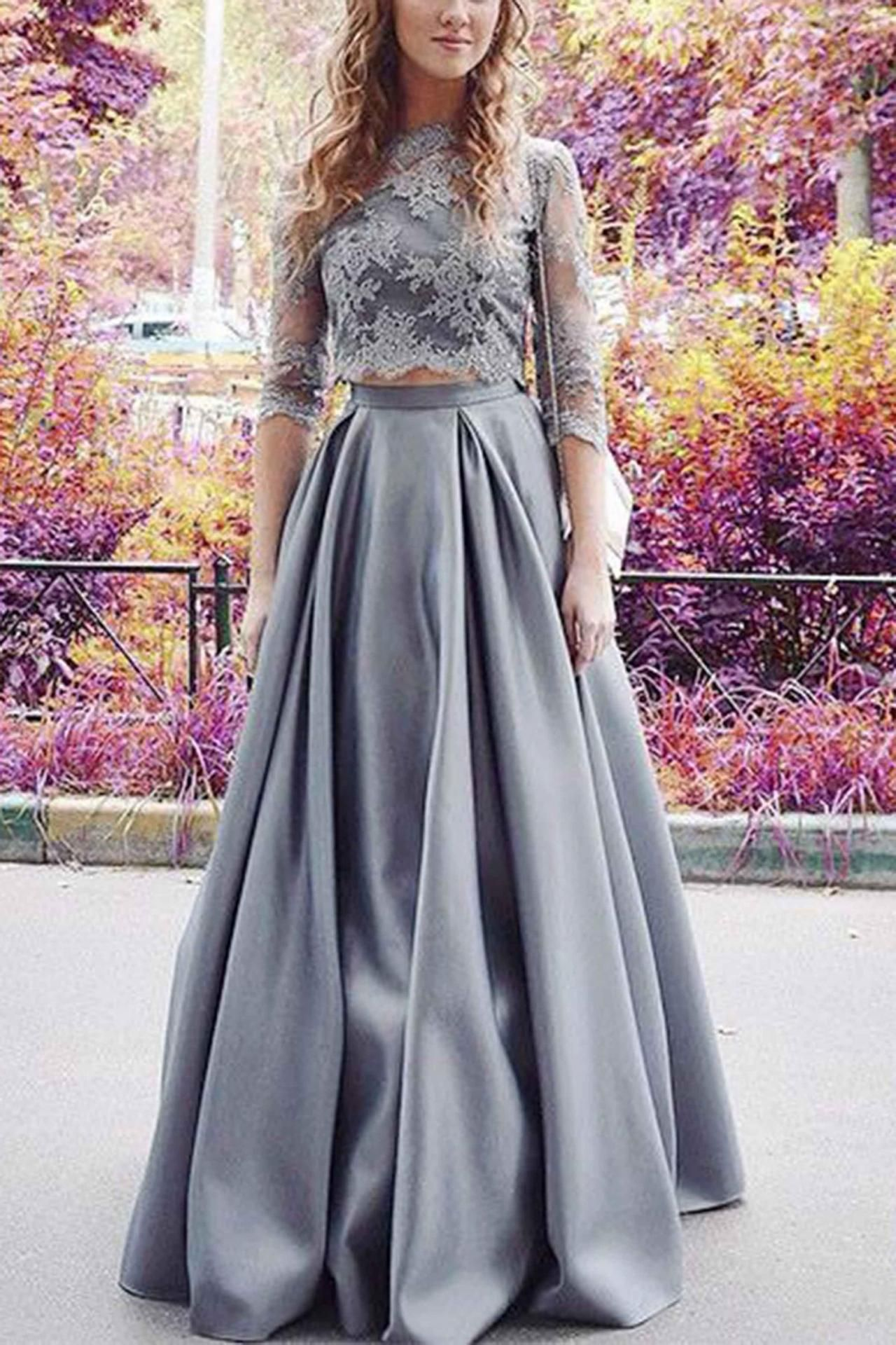 Purple twopiece lace floor length prom dress with midi skirt