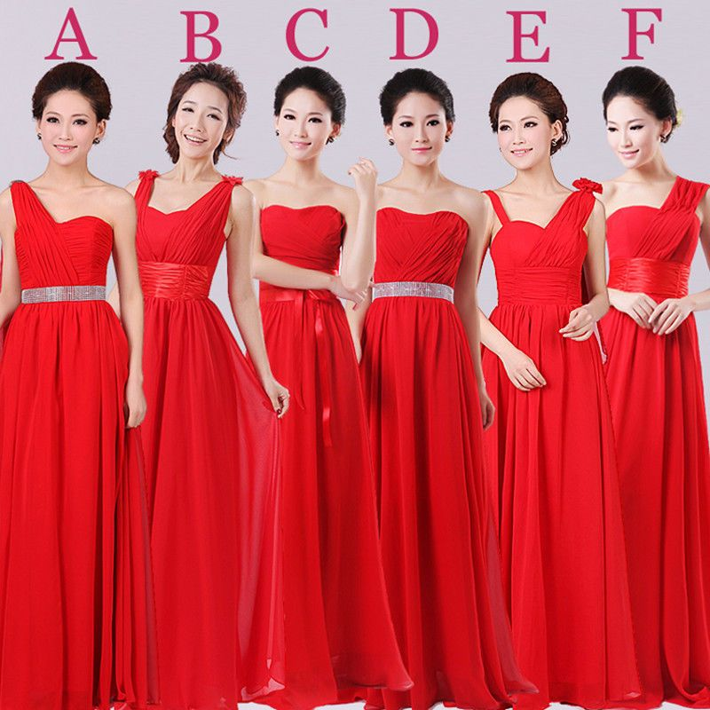 Red Long Formal Evening Prom Party Wedding Bridesmaid Dress Ball Gown Skirt C125