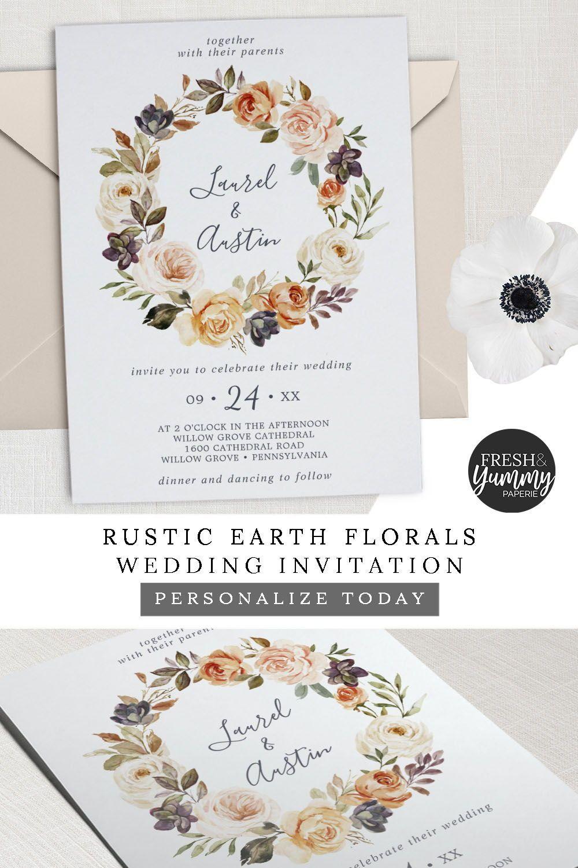 Rustic Earth Florals Wreath Wedding Invitation Zazzle Com In 2020 Orange Wedding Invitations Wedding Invitations Wreath Wedding Invitations